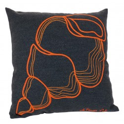 Coussin microfibre coquillage - gris/orange