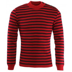 Pull marin rayé Cancale homme rouge/marine