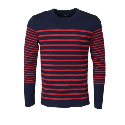 Pull marin rayures Concarneau homme marine/rouge