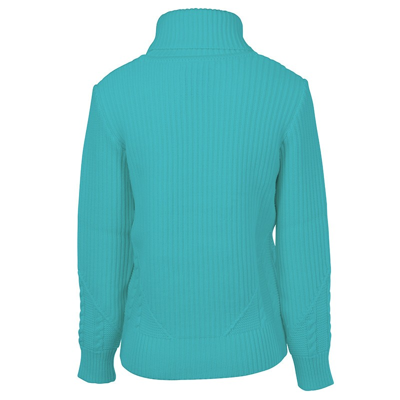 Pull Col Roul Femme Esterel Turquoise Chasse Mar E
