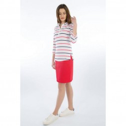 Polo rayé femme manches 3/4 - Blanc/beige/marine/rouge