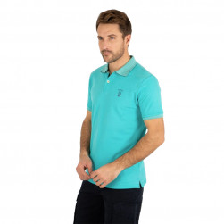 Polo homme manches courtes uni turquoise