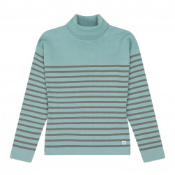 Pull marin col roulé femme Dol - gris/vert