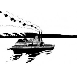 Le steamboat Paul Jones - Illustration de Pierre Hervé