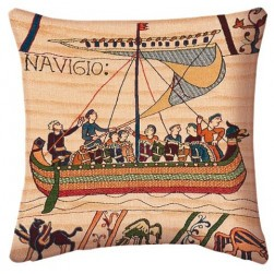 Coussin tapisserie Bayeux navigation