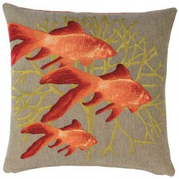Coussin beige tapisserie poissons rouges