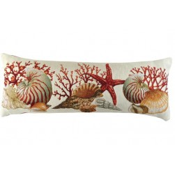 Coussin tapisserie coquillages blanc