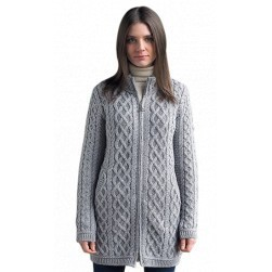 Gilet long Aran - Gris clair