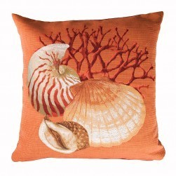 Coussin tapisserie coquillage, orange