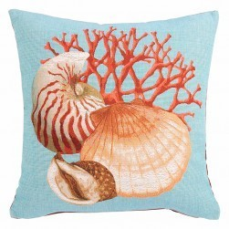 Coussin tapisserie coquillage, bleu