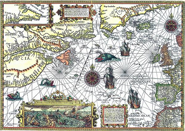 carte 1592 atlantique nord