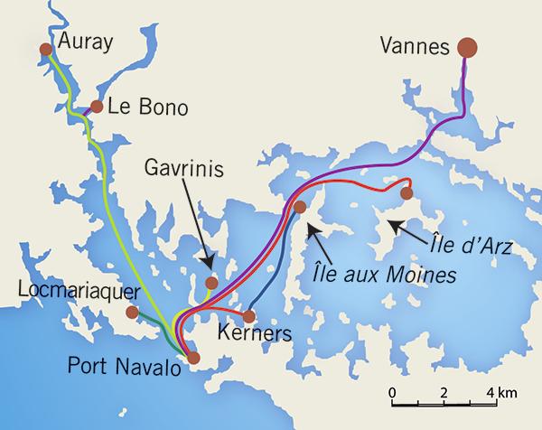 carte golfe du morbihan lignes la passagère des îles