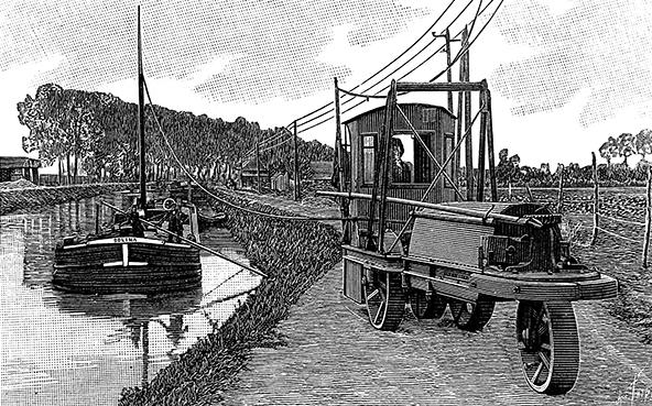 Halage mécanique fluvial traction