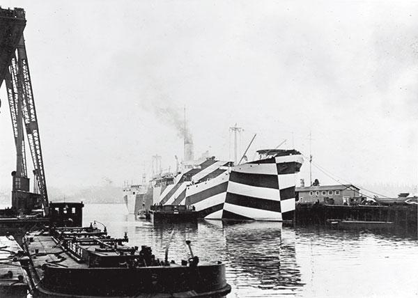 bateau de guerre, marine militaire, U-boote, camouflage dazzle, bateau camouflé