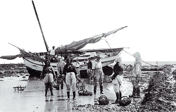 Pêcheurs à pieds devant bateau échoué