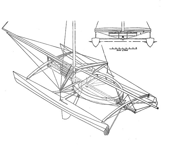 Plan d'un catamaran de 1877