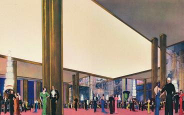 Salle de réception du Normandie, Illustration de Paul Iribe