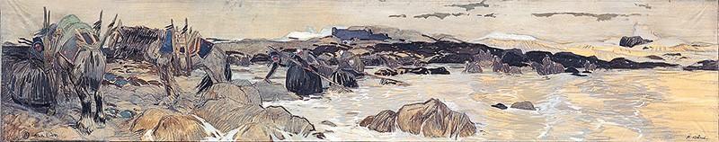 Peinture du ramassage d'algues Mathurin Méheut