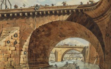 Vue d'une arcade du pont au Change, de Nicolas Pérignon (1726-1782). Au XVIIIe siècle, la population de Paris explose sous l'afflux des provinciaux et la consommation de bois à bruler atteint un million et demi de stères par an. Le flottage permet d'acheminer ce combustible en grandes quantités et à moindre coût.