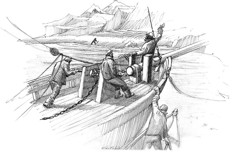 Illustration de Gildas Flahault - marins à la manoeuvre