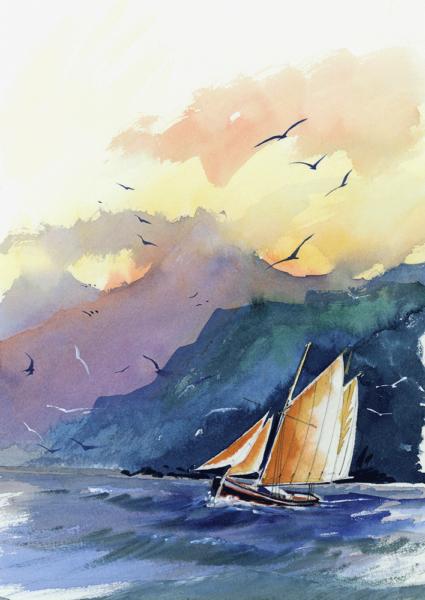 Illustration de Gildas Flahault - fresque de bateau naviguant sous voile, falaise et oiseaux dans le ciel