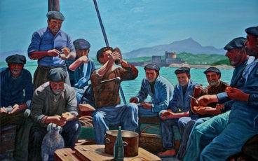 Peinture de déjeuner à bord d'un bateau de pêche