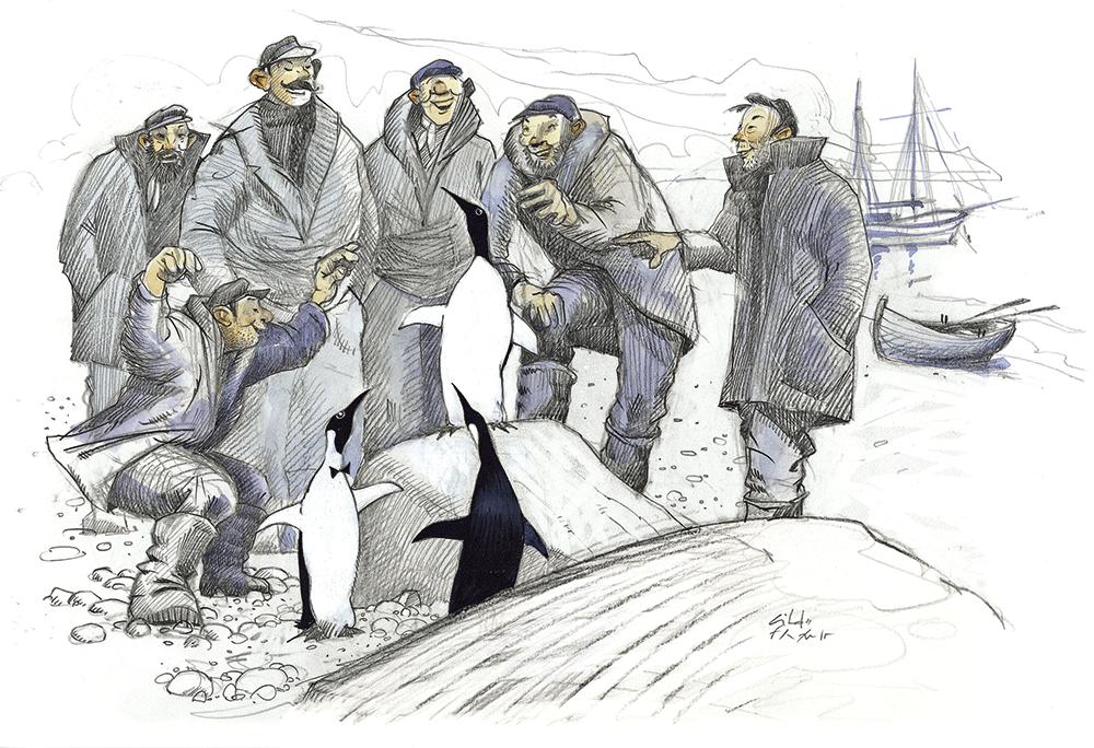 Illustration de Gildas Flahault - groupe de marins jouant avec des pingouins