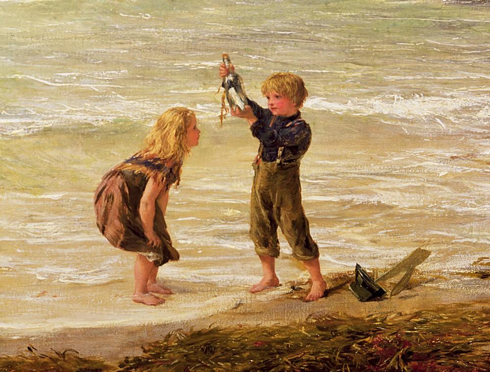Peinture d'enfants sur la plage