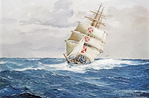 Aquarelle de Roger Chapelet représentant le Sagres