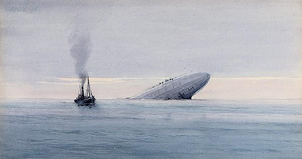 Peinture du naufrage du zeppelin allemand en 1916