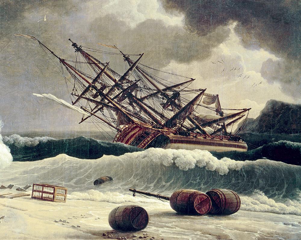 peinture d'un navire échoué