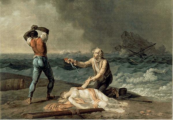 peinture de la mort de Virgnie et de deux hommes