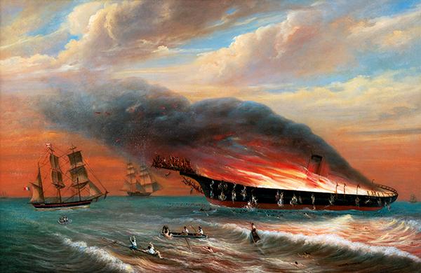 Peinture naufrage bateau