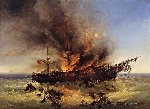 peinture bateau en feu