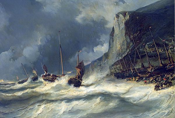 peinture bateaux dans la tempête