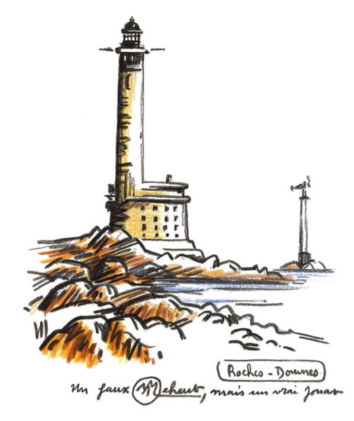 peinture de phare et roches