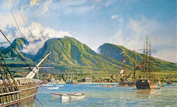 peinture marine d'une baie exotique