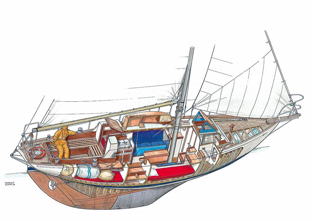 dessin vue intérieur bateau à voile