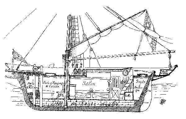 dessin vue intérieure d'un yacht