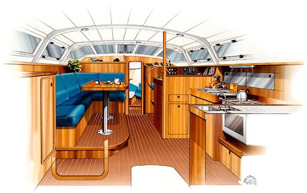 dessin de l'intérieur d'un bateau de plaisance