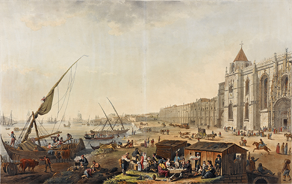 Peinture du port de Lisbonne début 19ème siècle