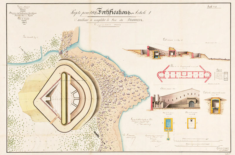 Plans du projet de fortifications de Diamant en 1809