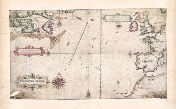 Carte de l'océan Atlantique Nord dressée par le Havrais Paul Ollivier en 1624.