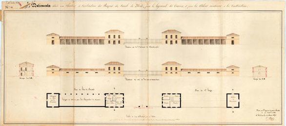 dessin des bâtiments élevés au chantier des Barques en 1837.