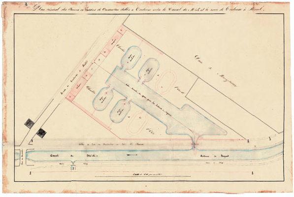 plan général des formes vers 1837 (document non daté). Noter, au plus près du canal, les emplacements prévus pour les cinquième et sixième formes, non réalisées.