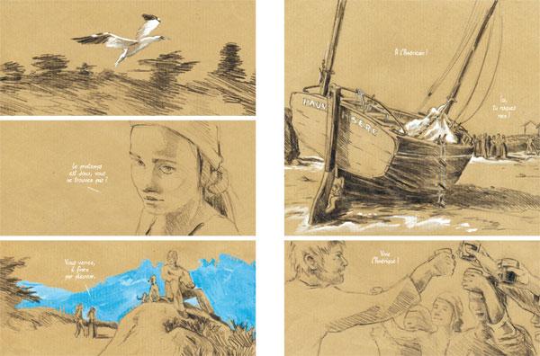 Dans sa première bande dessinée, Bleu Amer, Sophie illustre au crayon noir et à la peinture une histoire aux accents dramatiques sur les îles Chausey.