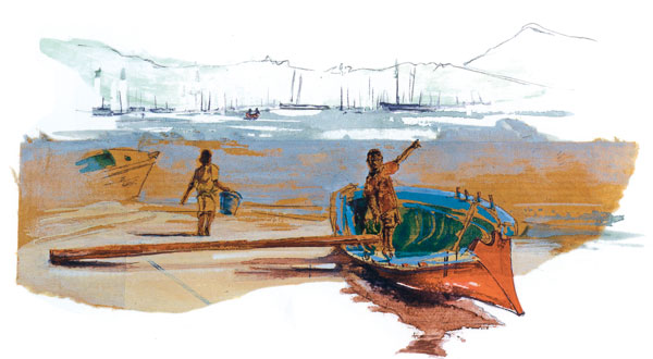 Une yole au Marin, dans le Sud de la Martinique. Dessin paru dans Carnet d'«Eole» – vers les Caraïbes.