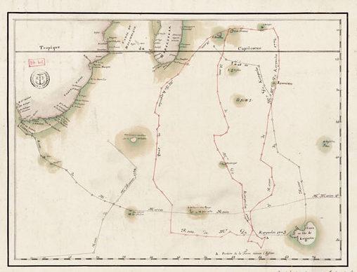«Carte de la route de M. de Kerguelen de l'Isle de France à la terre qu'il a découverte», 1774.