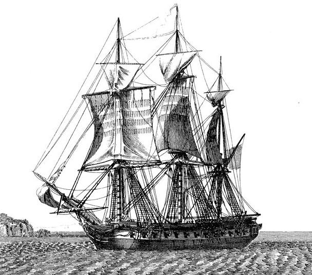 appareillage d'une gabare, par Jean-Jérôme Baugean (1764-1819). La gabare de 36 mètres Le Gros-Ventre.