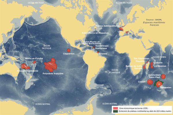 Grâce à ses ZEE, la France occupe le deuxième rang des puissances maritimes du monde (derrière les États-Unis).